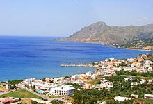 The village of Plakias in Crete